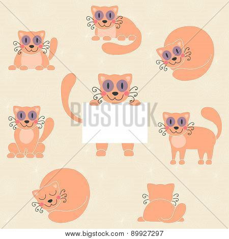 Cute red kitten set, funny cat with sign