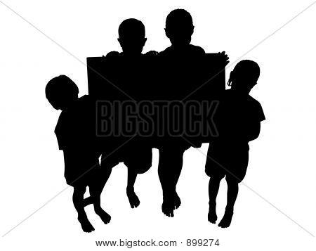 Silhouette With Clipping Path Kids With Sign