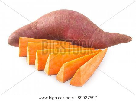 sweet potatoes isolated on white background