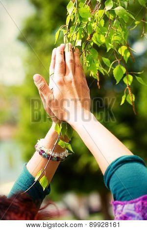 Spring Prayer - Adoring The Healing Powers Of The Spring, Tree In Hands