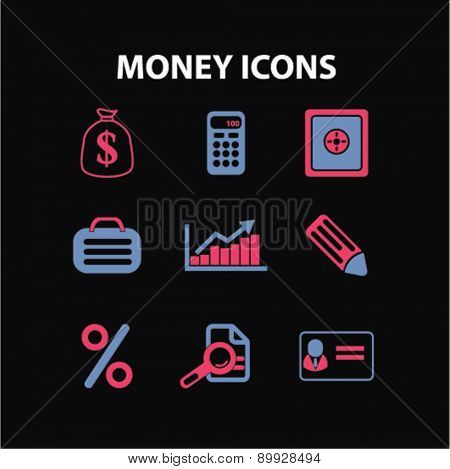 Money, bank, finance icons, and signs. illustrations set, vector