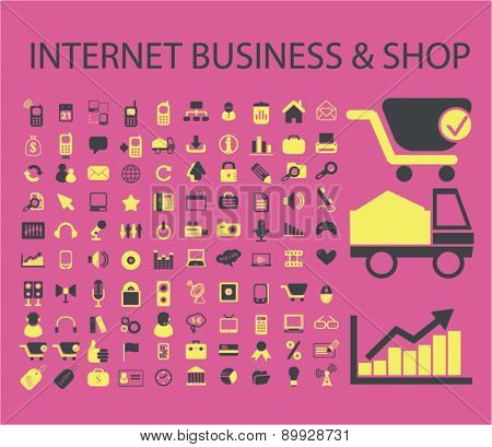 internet business, shop, eCommerce, retail icons, signs. illustrations set, vector