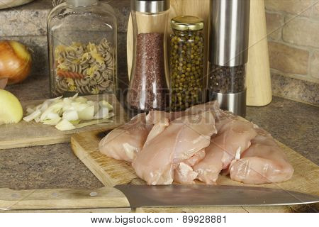 Homework chicken meat, slicing chicken breast fillet