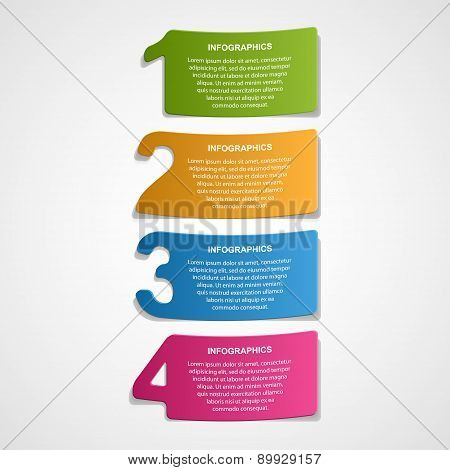 Paper Numbered Stickers Design Elements Infographic.