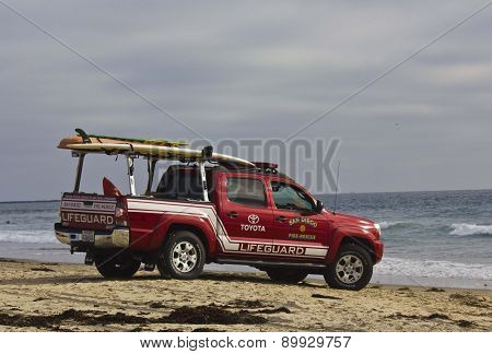 Toyota Lifeguard Vehicle At Sunset On Mission Bay Beach