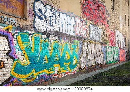 Abandoned Courtyard With Abstract Graffiti