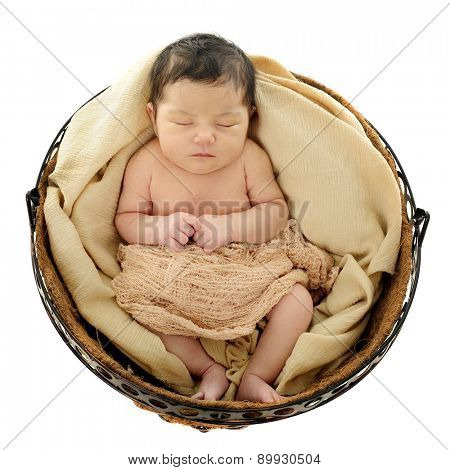 A bird's eye view of a newborn sleeping in a round basket.  On a white background.