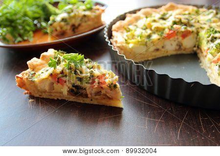 Piece of broccoli pie