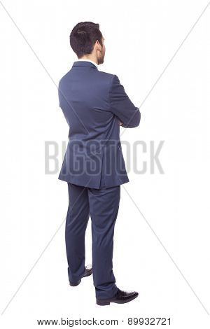 Business man from the back, isolated on white background
