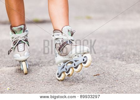 Enjoying Roller Skating Rollerblading On Inline Skates.