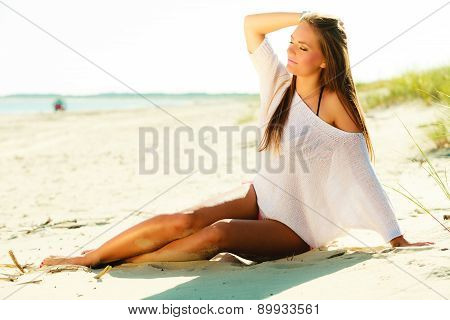 Attractive Sexy Girl On Seashore