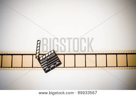 35Mm Movie Filmstrip Blank Frames Reel With Clapper Board