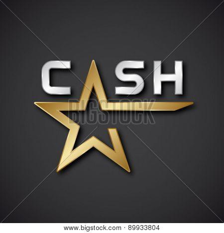 EPS10 vector cash golden star inscription icon