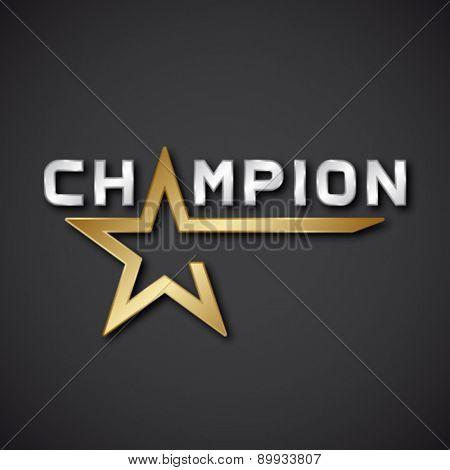 EPS10 vector champion golden star inscription icon