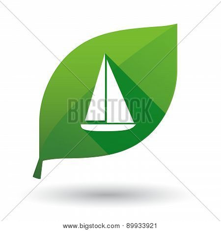 Green Leaf Icon With A Ship