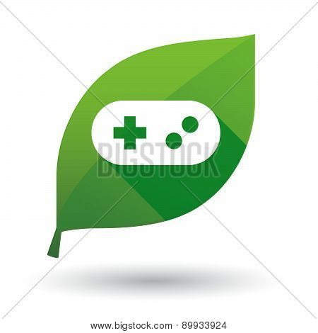 Green Leaf Icon With A Game Pad