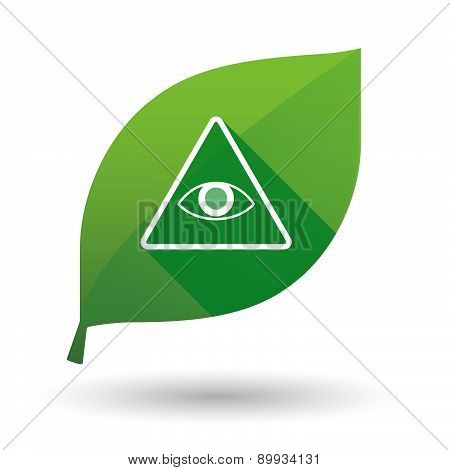 Green Leaf Icon With An All Seeing Eye