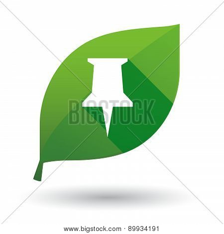 Green Leaf Icon With A Push Pin