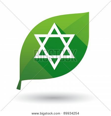 Green Leaf Icon With A David Star