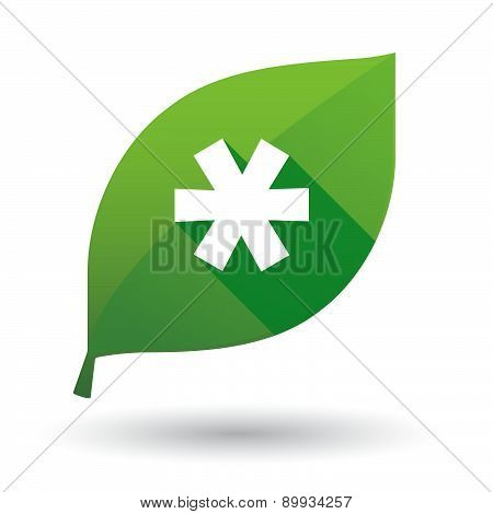 Green Leaf Icon With An Asterisk