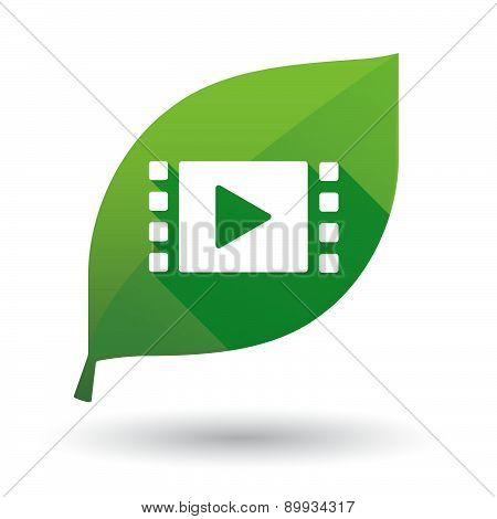Green Leaf Icon With A Multimedia Sign
