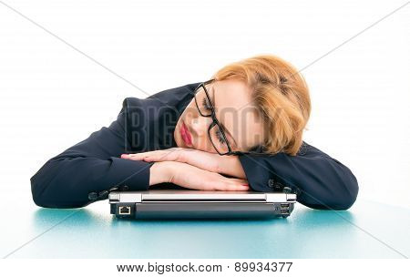 Tired Or Sleepy Business Woman. Girl Sleeping On Workspace, Isolated On White