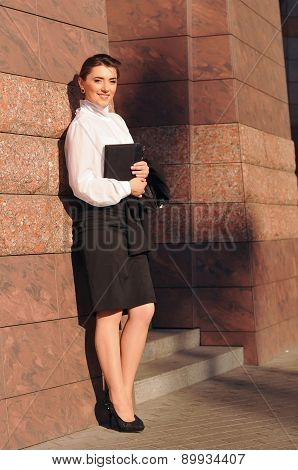 Beautiful Businesswoman Portrait Near Pink Wall With Tile
