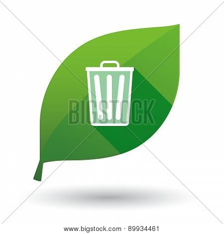 Green Leaf Icon With A Trash Can