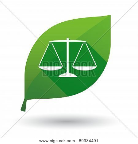 Green Leaf Icon With A Weight Scale
