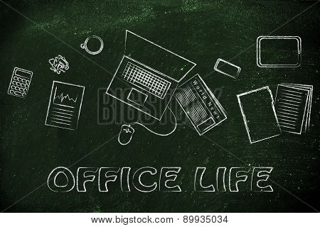 Business Office Objects Desk Illustration, Organization And Productivity