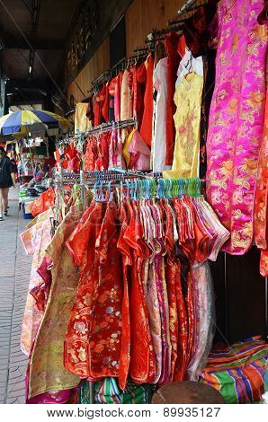 Stall Sells Chinese New Year Clothing On The Street
