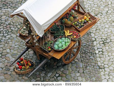 Fruits And Vegetables For Sale In Vegetable Market