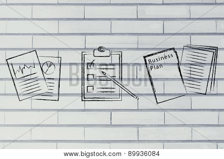 Business Documents, Flat Illustration