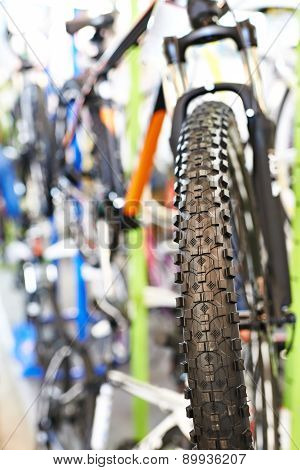 Tire Tread Of Front Wheel Sports Mountain Bike