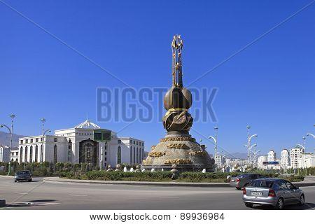 Ashgabat, Turkmenistan - October 23, 2014: Ashgabat Monument Turkmen Culture And Art. Ashgabat,  Oct