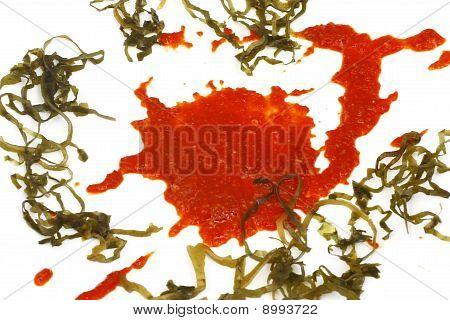 Blot Of Tomato Sauce With Sea Kale