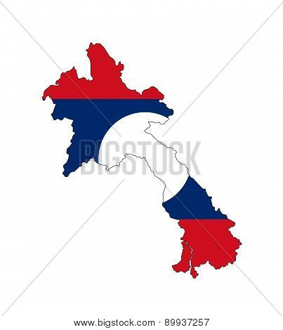 Laos Flag Map