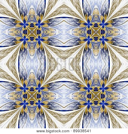 Symmetrical Flower Pattern In Stained-glass Window Style On Light. Beige And Blue Palette. Computer