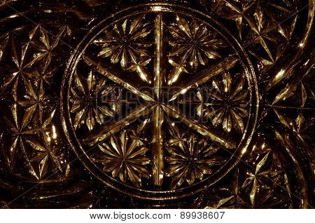 Abstract Background: Gold Gothic Pattern In Cut Glass