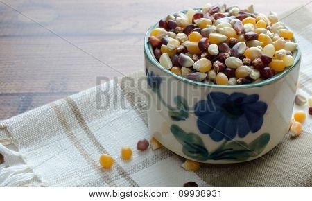 Bowl of Popcorn Kernels