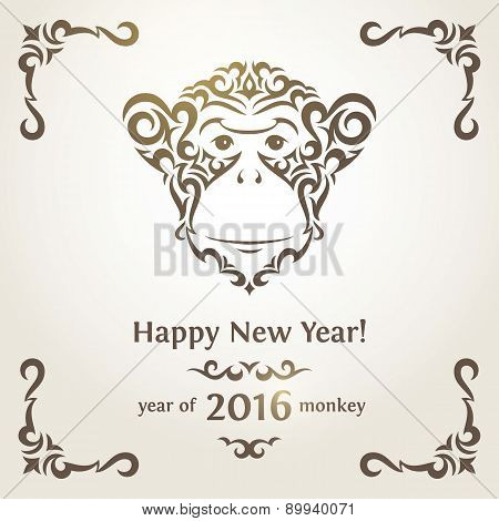 Greeting New Year card with monkey - symbol of the year