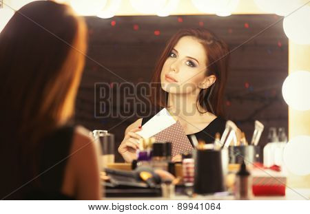 Portrait Of A Beautiful Woman With Certificate