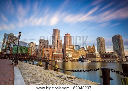Boston Harbor And Financial District In Boston