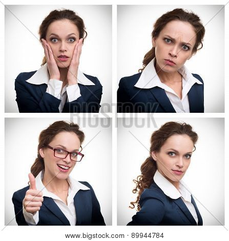 Collage Of A Business Woman With Different Expressions