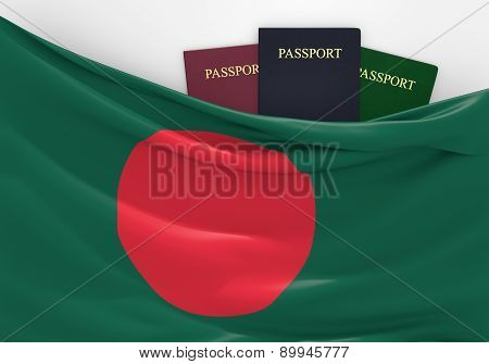 Travel and tourism in Bangladesh, with assorted passports