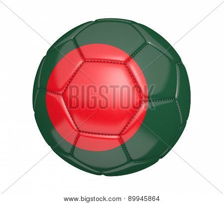 Soccer ball, or football, with the country flag of Bangladesh