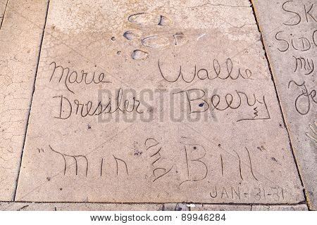 Marie Dresslers And Wallie Berrys Handprints In Hollywood Boulevard In The Concrete Of Chinese Theat