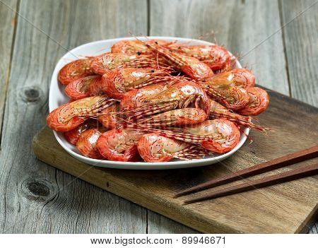 Freshly Steamed Shrimp Ready To Eat