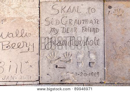 Handprints Of Jean Hersholt In Hollywood Boulevard In The Concrete Of Chinese Theatre's Forecourt