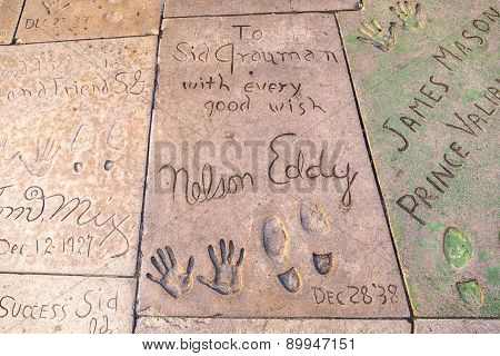 Handprints Of Eddy Nelson In Hollywood Boulevard In The Concrete Of Chinese Theatre's Forecourt